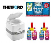 Thetford Porta Potti 365 Toilet Package (2 x Blue Chemical + 2 x Pink Chemical +  x 1 Aqua Soft)